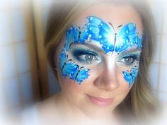 Blue Butterflies Makeup and Face Painting Face Painting For Boys, Face Painting Tips, Face Painting Tutorials, Face Painting Designs, Love Painting, Face Paintings, Butterfly Face Paint, Butterfly Makeup, Butterfly Mask