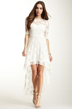 JUMP Abbey Illusion Sweetheart Neck Lace Hi-Lo Hem Dress by JUMP on @HauteLook