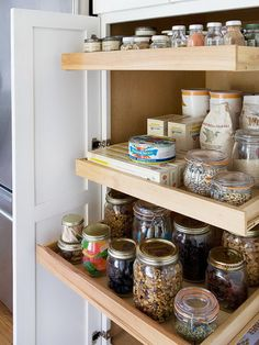 kitchen pantry organization I like that everything is in glass jars, even if they don't match, it right away looks less cluttered and is easier on the eyes.