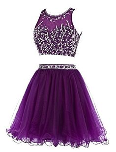 Amazon.com: Tideclothes Short Beading Prom Dress Two Pieces Tulle Homecoming Dress Lavender US2: Clothing Black Evening Dresses, Black Prom Dresses, Evening Gowns, Dress Black, Formal Dresses, Semi Dresses, Dance Dresses, Cheap Dresses, Sweet 16 Dresses