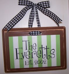 Last name plaque-last name, plaque, wood, 7x9, custom, handmade, gift, present, housewarming