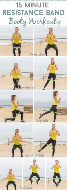 This targeted booty workout uses a resistance band for the ultimate backside shaper. Lift and tone your booty with this 15 minute, home workout (Mini Fitness Challenge) #fitnesschallenge