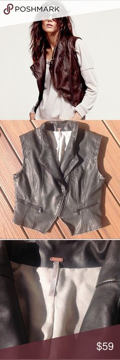 """FREE PEOPLE VEGAN LEATHER VEST SZ XS Antique brown faux leather vest with lining and pockets from Free People.  Bust 17.5"""" length 20"""" Free People Jackets & Coats Vests"""