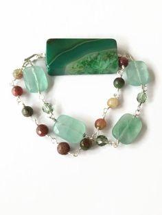 Green Geode Slice Beaded Bracelet Chain and Link Bracelet Multi Color Tourmaline Statement Bracelet Multi Strand Wire Chain Bracelet  (WC30) by JulemiJewelry on Etsy https://www.etsy.com/listing/225149467/green-geode-slice-beaded-bracelet-chain