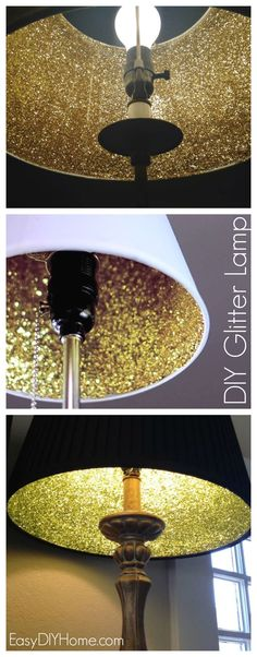 20 Easy DIY Lamp Ideas for Creative Home Decor on a Budget - Love the idea of a glitter lampshade Want to improve your home lighting by making your own lighting fixtures? Here's how to make a DIY lamp and lampshade, using one of these easy tutorials. Glitter Lampshade, Diy Casa, Diy On A Budget, Lamp Shades, Diy Furniture, Furniture Removal, Diy Home Decor, Decor Room, Easy Diy