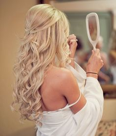 Wedding Hair Down Half up wedding hair is the perfect style for every bride, and here's why… by mavis Half Up Wedding Hair, Wedding Hair And Makeup, Hair Makeup, Hair Styles For Wedding, Wedding Hairstyles Half Up Half Down, Wedding Down Dos, Wedding Hair Blonde, Bridal Hair Half Up With Veil, Long Bridal Hair