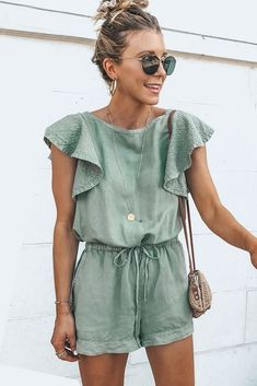Light-green Flounce Sleeve Drawstring Casual Romper - Jumpsuits and Romper Rompers For Teens, Cute Rompers, Rompers Women, Jumpsuits And Rompers, Cute Summer Rompers, Fashion Jumpsuits, Womens Jumpsuits, Casual Summer Outfits, Spring Outfits