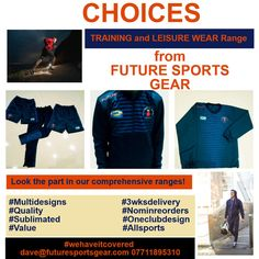 #Lookgoodtraingood in our quality and comprehensive range of Training and Leisure Wear! #Choices 3 Weeks Delivery and No Min Reorders! #oneclubonedesign