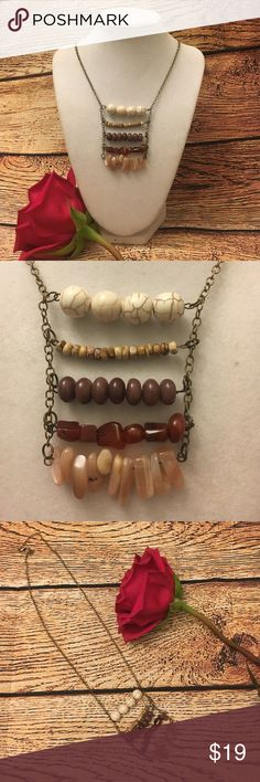 "Boho chic minimalist necklace Measures 18"" long.  Lobster clasp closer. Collection of five different stones. Earth tones. NWT.   Handmade for my personal jewelry line.   Not on piece will be the same due to the different shape and length of the stones. Jewelry Necklaces"