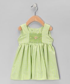 Take a look at this Green Gingham Smocked  Dress - Infant & Toddler by Fantaisie Kids on #zulily today!