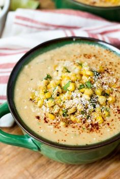 Mexican Street Corn Soup makes a great lunch or dinner! Cotija cheese cilantro sour cream and lime Mexican Street Corn Soup is a fun and full-flavored way to serve sweet summer corn. Its easy to prepare too! Mexican Food Recipes, Vegetarian Recipes, Dinner Recipes, Cooking Recipes, Healthy Recipes, Healthy Soup, Dinner Ideas, Steak Recipes, Healthy Chicken