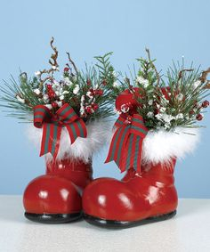 take a look at this santa boot centerpiece set of two by transpac imports on grinch christmaschristmas in julycountry - Christmas In The Country Erie Pa