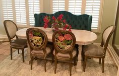 Custom dining set with real velvet banquette by Chateaux Interiors in Beckley, WV