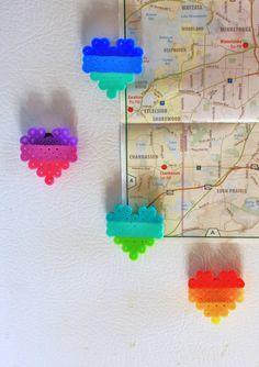 Ombre Heart Perler Bead Magnet. $3.00, via Etsy.