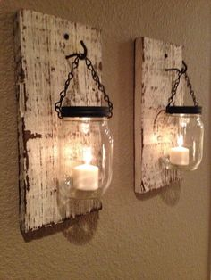 Rustic barn wood mason jar candle holders. Set of 2.