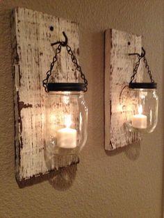 Rustic barn wood mason jar candle holders. Set of 2.