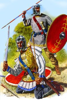 Roman infantry during the crisis of the third century. They wear late pattern Niederbieber helmets.