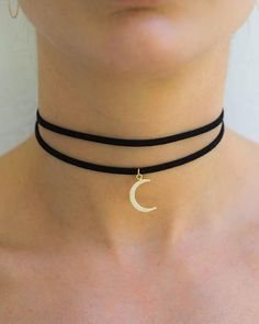 The Crescent Moon Black Choker Necklace from Miami Beach jewelry company Meridian Ave fashion jewelry is chic and sexy. This black suede double wrap choker f...