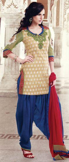 Fawn #Cotton Jacquard Readymade Patiala #Suit @ $136.53 | Shop @ http://www.utsavfashion.com/store/sarees-large.aspx?icode=kgf3743