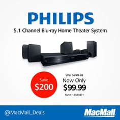 Enjoy 1000 watts of crystal clear audio with a Philips 5.1 home theater system for $99.99. #PriceDrop