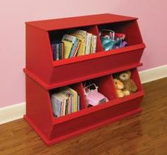 Three Bin Stackable Storage Cubby in Red - other colors available