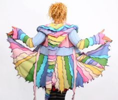 Upcycled sweater coat by Katwise. Can easily be recreated. Kat went to India and was inspired by the overlocked jumpers she saw there.