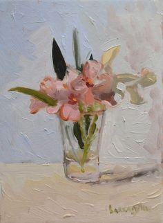 I picked these one morning along the walls of Porchiano del Monte, Umbria Italy. Pink Flower Painting Still Life Oil by BarraganPaintings on Etsy