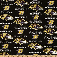 NFL Cotton Broadcloth Baltimore Ravens Black/Purple/Gold from @fabricdotcom  Cheer on the Baltimore Ravens your favorite NFL team with this NFL cotton broadcloth fabric. Perfect for use in quilting projects, craft projects and even apparel.