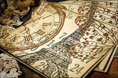 Time Flies in Paris Set of 4 Scrapbooking Cardstock Ephemera 4 3/4 x 4 $4.50