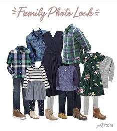 Planning on what to wear for fall family pictures? Here is the perfect look! Pops of green, navy and denim are perfect for any coordinating look. Navy Family Pictures, Fall Family Picture Outfits, Christmas Pictures Outfits, Family Portrait Outfits, Family Photo Colors, Family Pictures What To Wear, Winter Family Photos, Family Pics, Christmas Photos