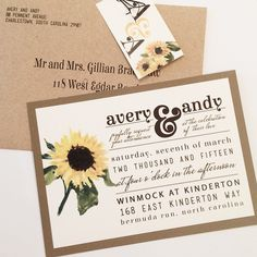 Rustic Sunflower Wedding Invitation Suite Deposit Listing by www.elevenelevenpixel.com