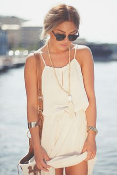 ivory chiffon dress + white tassel necklace + sunnies