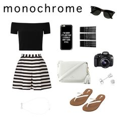 """""""Monochrome"""" by erinfrankland ❤ liked on Polyvore featuring Reiss, Alice + Olivia, Volcom, Kate Spade, Casetify, Monki, Ray-Ban, Eos, Amanda Rose Collection and monochrome"""