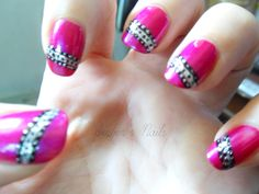 Pink With Black And Silver Dots And Stripes.