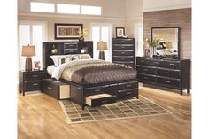 Almost Black Kira Queen Storage Bed View 3 Ashley Furniture