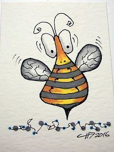 ACEO Original Whimsical Bumble Bee Insect Nature Bugs Ink Black Yellow | eBay