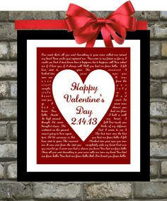 Valentines Day Gifts For Him or For Her Song by Printsinspired, $18.99. A DIY project. Just change the lyrics to match your wedding song!