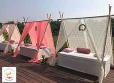 Colourful outdoor tents with drapes for mehendi. Desi Wedding Decor, Wedding Backdrop Design, Marriage Decoration, Wedding Decorations On A Budget, Mehendi Decor Ideas, Mehndi Decor, Outdoor Indian Wedding, Wedding Event Planner, Event Decor