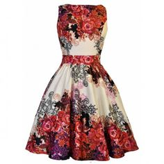 Lady V Abby Rose Collage Kleid Rot