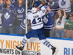Nazem Kadri celebrates after scoring in the first period against the Buffalo Sabres Thursday, Mrrch 21, 2013, in Buffalo.