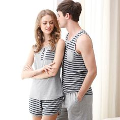 Pajamas for Women Summer Love Men Vest Pyjamas Cotton Stripe Pajama Sets Couples Matching Pajamas Matching Couple Pajamas, Matching Couple Outfits, Matching Couples, Kids Pajamas, Pajamas Women, Outfits For Teens, Cute Outfits, Womens Pjs, Woman Clothing
