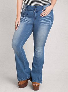 Welt Pocket Flare JeansPlus Size Welt Pocket Flare Jeans,