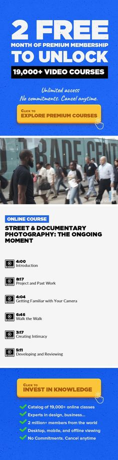 Street & Documentary Photography: The Ongoing Moment Photography, Street Photography, Creative, Documentary Photography, Black And White, Film Photography, Andre D Wagner #onlinecourses #writingskills #CoursesAdvertising   Follow photographer Andre D. Wagner as he roams the streets of New York documenting life as it passes by. This class shows Andre's method of working as well as his personal me... #blackwhitephotography