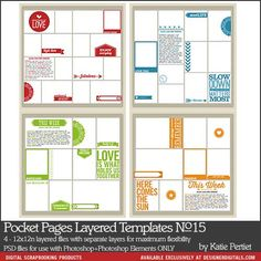 Pocket Pages Layered Templates No. 15 - Digital Scrapbooking Templates perfect for #ProjectLife and #Project365 scrapbooking