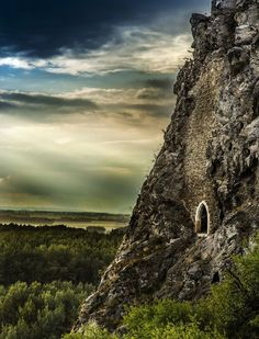 Castle Devin ruins: ancient portal in Bratislava, Slovakia - called the 'Chamber Of Secrets' - looks out over the Danube River Places Around The World, Around The Worlds, Bratislava Slovakia, Danube River, Abandoned Places, Wonders Of The World, Places To See, Beautiful Places, National Parks