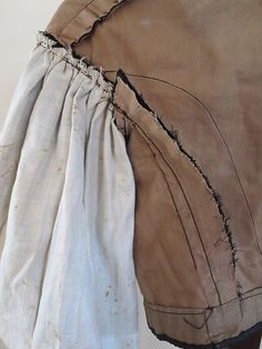 """Vintage Victorian 1860's Civil War Era Black Silk Bodice Dropped Shoulders 