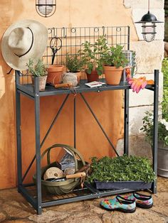 Our Folding Potting Bench Is A Handy Fixture For Gardening That Folds Away  To Just 4