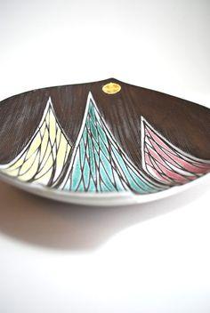 Rare Mid-Century Geometric Pastel Art Dish by Upsala Ekeby Sweden