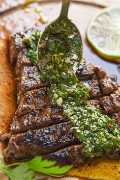 Chimichurri Steak makes for an excellent steak dinner! You can make skirt steak chimichurri or flank steak with chimichurri! Don't like steak? Try out our Chimichurri Chicken! Both are delicious recipes and perfect for Cinco De Mayo too. Skirt Steak Recipes, Beef Recipes, Chicken Recipes, Cooking Recipes, Healthy Recipes, Delicious Recipes, Water Recipes, Grilling Recipes, Flank Steak Recipes