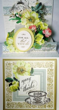Thank You Gratitude Anna Griffin Inspired Handmade POP UP Greeting Card
